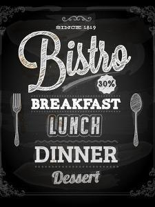 Bistro Chalkboard Poster For Vintage Design by Ozerina Anna