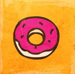 Cartoon Donut. Cute Hand Drawn, Vintage Paper Texture by Ozerina Anna