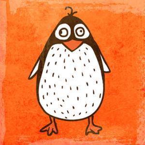 Cartoon Penguin. Cute Hand Drawn, Vintage Paper Texture by Ozerina Anna