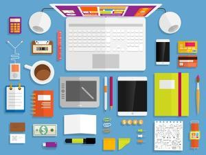 Set of Flat Design Icons. Mobile Phones, Tablet Pc, Marketing Technologies, Mobile Apps, Email, Vid by Ozerina Anna