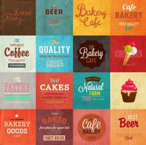 Set Of Retro Bakery Label Cards For Vintage Design, Old Paper Textures Background by Ozerina Anna