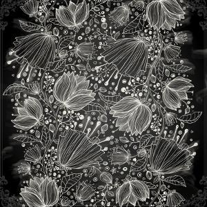 Stylish Floral Background, Hand Drawn Retro Flowers by Ozerina Anna