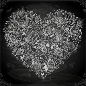 Stylish Floral Heart, Hand Drawn Retro Flowers by Ozerina Anna