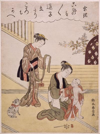 P.312-1941 a Mother Dressing Her Young Son in a Kimono-Suzuki Harunobu-Giclee Print