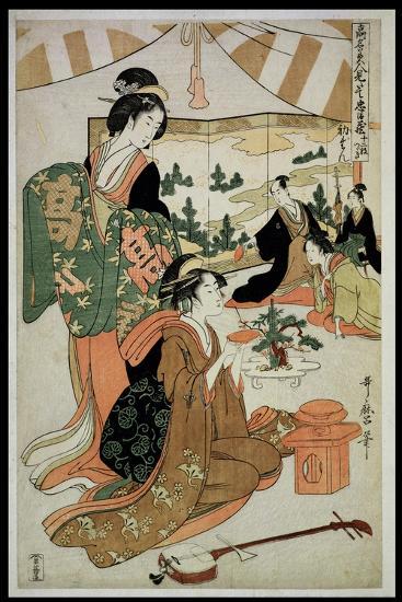 P.348-1945 Scene 1, Comparison of Celebrated Beauties and the Loyal League, C.1797-Kitagawa Utamaro-Giclee Print