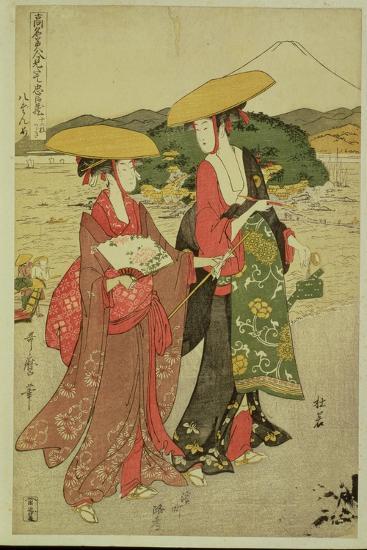 P.355-1945 Scene 8, Comparison of Celebrated Beauties and the Loyal League, C.1797-Kitagawa Utamaro-Giclee Print