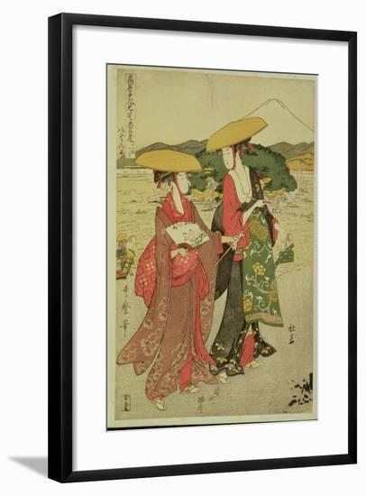 P.355-1945 Scene 8, Comparison of Celebrated Beauties and the Loyal League, C.1797-Kitagawa Utamaro-Framed Giclee Print