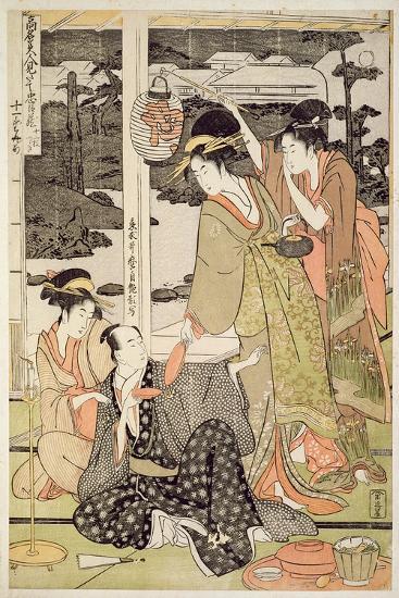 P.359-1945 Scene 12, Comparison of Celebrated Beauties and the Loyal League, C.1797-Kitagawa Utamaro-Giclee Print