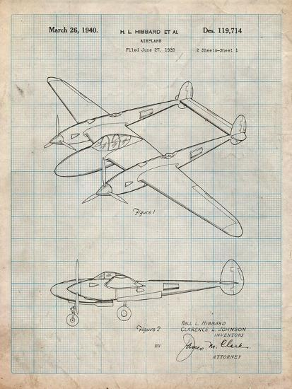 P-38 Airplane Patent-Cole Borders-Art Print