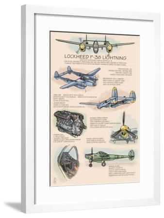P-38 Lightning Technical, c.2009-Lantern Press-Framed Art Print