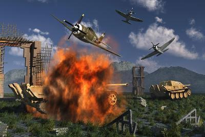 P-47 Thunderbolts Attacking German Jagdpanther Tanks During World War Ii--Art Print