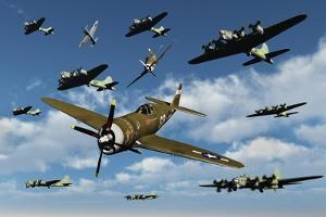 P-47 Thunderbolts Escorting B-17 Flying Fortress Bombers