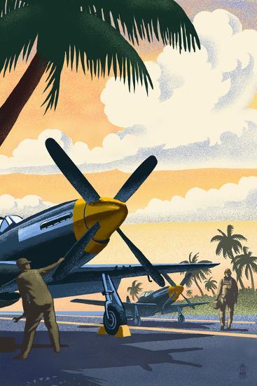 P-51 Mustang at Air Field-Lantern Press-Wall Mural