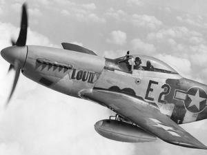 P-51 Mustang Fighter Plane in Flight. it Was a World War 2 Era Long-Range