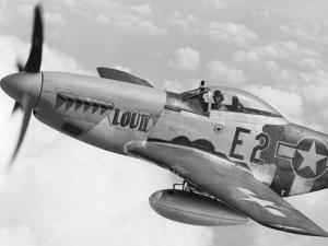 P-51 Mustang Fighter Plane in Flight. it Was a World War 2 Era Long-Range