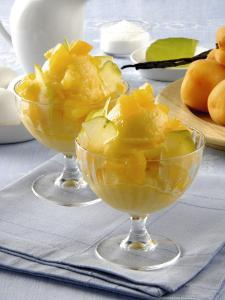 Close-Up of Apricot Ice-Cream in Glasses by P^ Bassanini