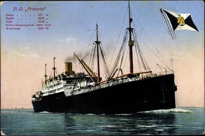 P.D. Pretoria, Hapag, Dampfschiff, Fahne--Giclee Print