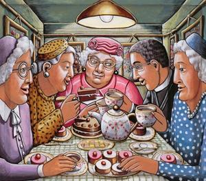 The Curate Taking Tea with the Ladies, 2009 by P.J. Crook