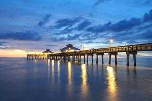 Pier at Sunset in Naples, Florida by p lange