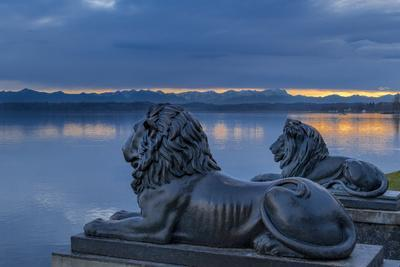 Bavarian Lions in Front of the Midgardhaus, Germany