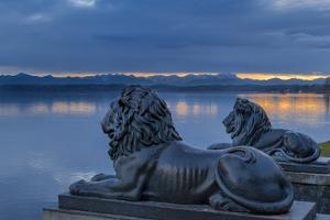 Bavarian Lions in Front of the Midgardhaus, Germany by P. Widmann