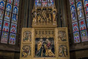 Glass Window, Apse of the Gothic St. Veits Cathedral, Prague Castle, Prague by P. Widmann