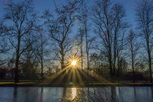 Sundown in a Pond with the Estate Dietlhofen, Bavarians, Germany by P. Widmann