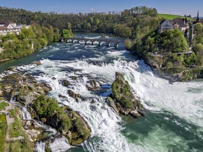 The Rhine Falls with Castle Running, with Schaffhausen, Canton Schaffhausen, Switzerland, Europe