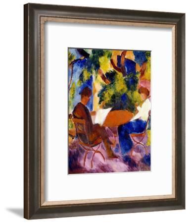 Paar am Gartentisch. Couple at the garden table-August Macke-Framed Giclee Print