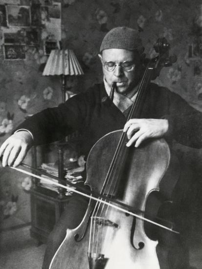 Pablo Casals, the Great Cello Player in His Home in Barcelona--Photo
