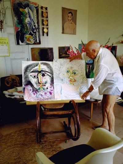 Pablo Picasso Arranging Displays of His Paintings at His Home in Notre-Dame-De-Vie, Mougins-Gjon Mili-Premium Photographic Print