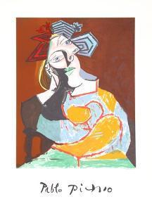 Femme Accoudee au Drapeau Bleu et Rouge by Pablo Picasso