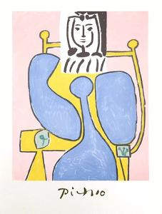 Femme Assise a la Robe Bleue by Pablo Picasso