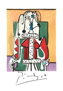 Femme Assise A La Robe D'Hermine by Pablo Picasso