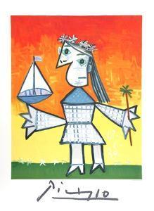 Fillette Couronee au Bateau by Pablo Picasso