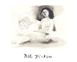 Homme Couchee Et Femme Assise by Pablo Picasso