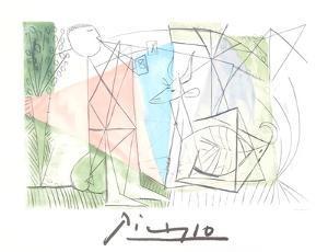 Jouer de Flute et Gazelle by Pablo Picasso