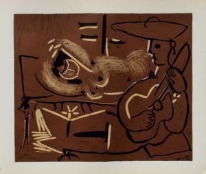 LC - Femme couchée et guitariste by Pablo Picasso