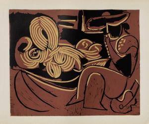 LC - Femme couchée et homme à la guitare by Pablo Picasso