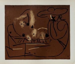LC - Femme couchée et homme au grand chapeau by Pablo Picasso