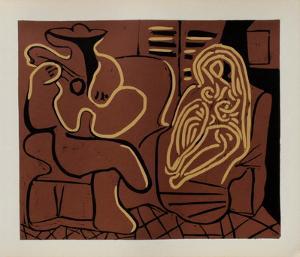 LC - Femme dans un fauteuil et guitariste by Pablo Picasso