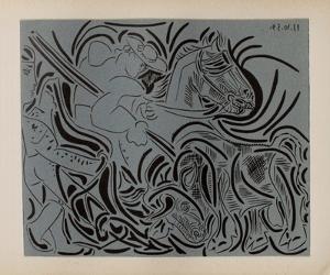 LC - Pique (fond bleu) by Pablo Picasso