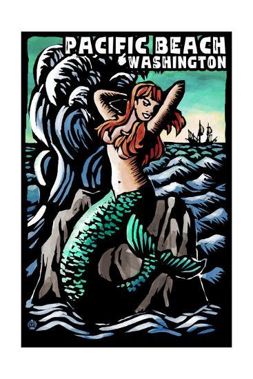 Pacific Beach, Washington - Mermaid - Scratchboard-Lantern Press-Art Print