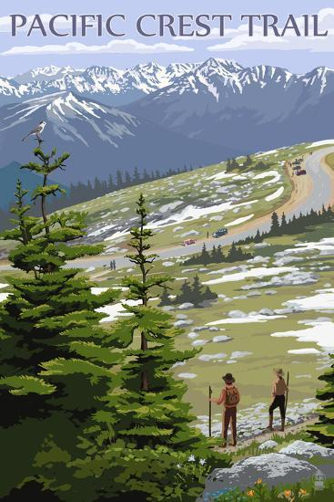 Pacific Crest Trail and Hikers-Lantern Press-Art Print