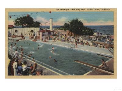 Pacific Grove, CA - Municipal Swimming Pool View-Lantern Press-Art Print