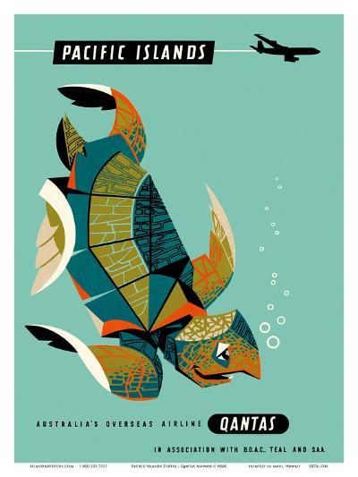 Pacific Islands - Qantas Airways - Green Sea Turtle-Harry Rogers-Art Print
