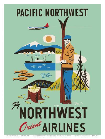 Pacific Northwest - Fly Northwest Orient Airlines--Art Print
