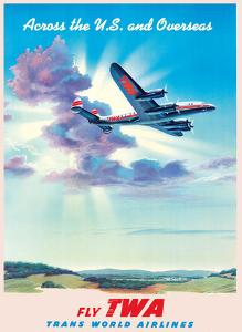 Across the U.S. and Overseas - TWA (Trans World Airlines) by Pacifica Island Art