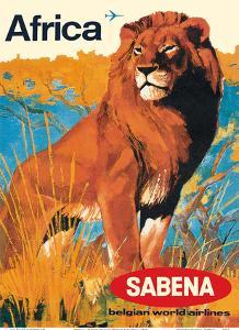 Africa - Sabena Belgian World Airlines by Pacifica Island Art