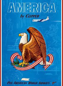 America by Clipper - Pan American World Airways - United States National Bald Eagle by Pacifica Island Art
